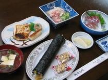 節分の太巻き寿司を加えた夕食