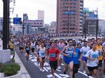 福井マラソン、幸橋付近、ランナーの波波・・。