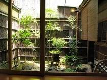 庵 恵美須屋町町家 暑い日も坪庭が涼を感じさせてくれます。