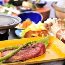 山里料理 会席(山葵で食べる信州牛ステーキ&虹鱒姿焼)