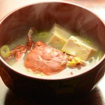 *【夕食一例】山太郎ガニ(ツガニ)の味噌汁