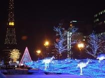 イルミネーション輝く札幌大通公園。