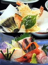 季節の会席料理「松」コースの天婦羅とお造り