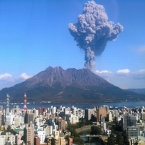 ホテルからも桜島の噴火をご覧いただけます