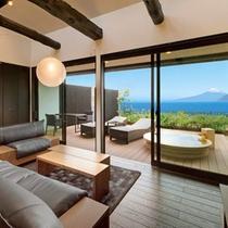 富士山と駿河湾を望む露天風呂付客室の一例