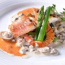 ◆和洋コース(二種の魚介アクアパッツァ)/ソースが決めてのお魚料理。素材の味を引き立てます。