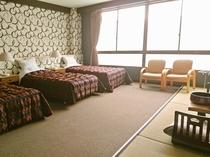 ペットと泊まれるトリプルベッドの和洋室52平米