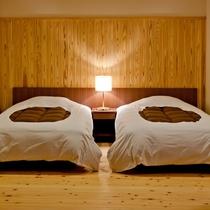「曲松」和洋リビング12帖+ツインベッドルーム+テラス+半露天風呂 61㎡