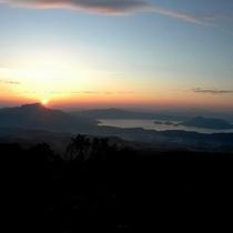 洞爺湖に沈む夕日
