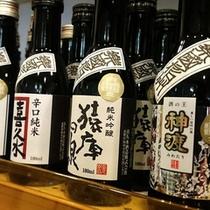【楽國信州】フロント横の売店にも10種類の南信州の地酒を取り揃えております。