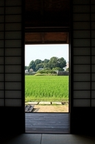 窓の外に見えるのは広大な田園風景