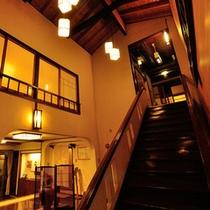 *館内階段を下りるとすぐお風呂場です。