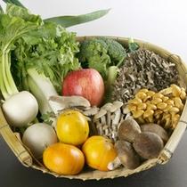 お料理の食材は新鮮な野菜やきのこを中心に地産地消を心掛けております。