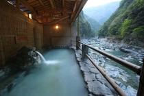 新緑の源泉掛け流し露天風呂・渓谷の湯