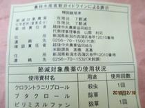低農薬米の表示