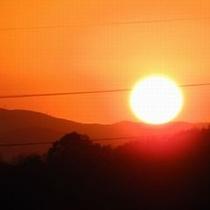 客室から見た1月の夕日