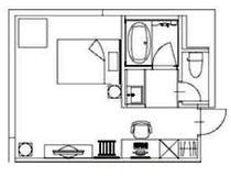 【客室平面図】※実際はユニットバスタイプの間取りとなります。