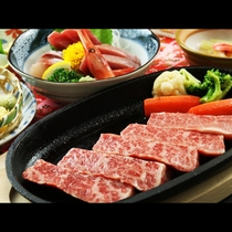 地元塙町産ブランド牛『はなわぎゅう』のステーキ。