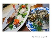 生野菜とお刺身盛り合わせ(お魚コース)