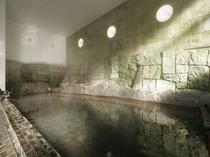 【男性内風呂】昼豊富な源泉を贅沢にかけ流しにした吹割風呂