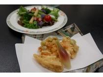 地場の春野菜サラダとかき揚げ