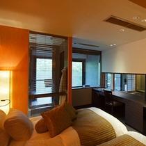 【さぎそう&かたくり】63.75平米の広さと展望風呂の開放感をお楽しみいただける空間。