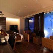 【すすき】ゆとりのリビングスペースと箱根の静寂を堪能できるベッドルーム。