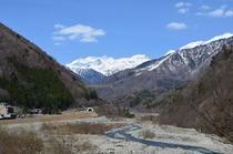 蒲田川より穂高連峰を覗く