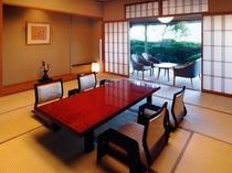 当館3階 庭園付きの和室(写真はスタンダードタイプ12.5畳客室)。