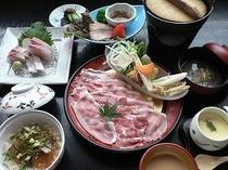 生姜鍋膳の一例