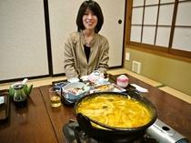 静岡満喫プランのお食事は手打ちほうとう付き