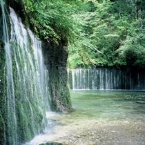 当館より車 35分 白糸の滝 白い糸を引くような幅の広い滝。