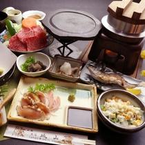 【夕食】「豊後牛の陶板焼き」が楽しめるグレードアップ料理の一例