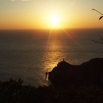 大潮岬と夕日