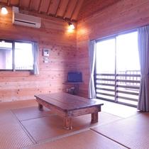 【お部屋(コテージ)一例】居間には畳を敷き、寛げる和の空間でお過ごしください。