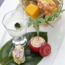 【前菜】ここから自慢の和・創作料理開始です。おもてなし料理をお楽しみください。