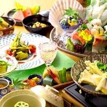 【2015初夏のお料理(一例)】夏の食材を取り入れた会席をご用意いたします。