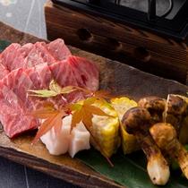 【2016秋のお料理(9月一例)】神戸牛のハネシタを香り高い松茸と一緒にジュ~!お好みの焼き加減でど
