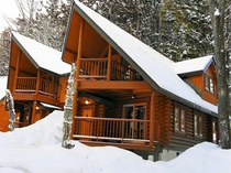 2ベッドルームのログハウス外観(冬)