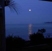 月が美しく輝く夏の海