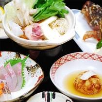 ■お料理一例■ひきとおしや刺身、あらかぶのから揚げ