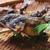 【夕食一例】川魚など素朴な料理をお楽しみください。