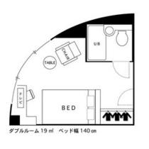 ☆ダブルルーム☆■広さ19平米■★間取り図★