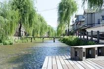近所の柳並木と小川