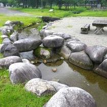 *【魚とりスペース】対岸にあるキャンプ場内では、脇を流れる荒川で魚を捕まえたり、水遊びができます。