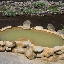当館からラムネ温泉までの途中にある名物「ガニ湯」