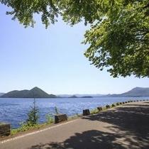 【夏の洞爺湖】眩しい日差しを遮る道路脇の緑。お車の助手席からいくつもの絶景に出遭えます。