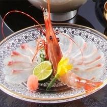 礒魚薄造りと牡丹海老