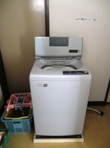 館内にある大型洗濯機