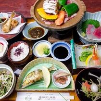 *【夕食一例】南九州の新鮮な食材や自家製野菜をたっぷり使った会席。